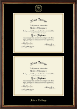 Alma College Diploma Frame - Double Diploma Frame in Williamsburg