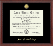 Anna Maria College Diploma Frame - 23K Medallion Diploma Frame in Signature