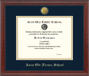 Avon Old Farms School in Connecticut Diploma Frame - 23K Medallion Diploma Frame in Signature