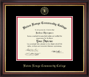 Baton Rouge Community College Diploma Frame - Gold Embossed Diploma Frame in Regency Gold