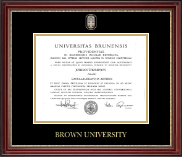 Brown University Diploma Frame - Masterpiece Medallion Diploma Frame in Kensington Gold