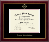 Central Bible College Diploma Frame - Gold Embossed Diploma Frame in Gallery