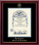 The Citadel The Military College of South Carolina Diploma Frame - Gold Embossed Diploma Frame in Gallery