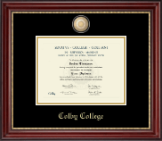 Colby College Diploma Frame - Brass Masterpiece Medallion Diploma Frame in Kensington Gold