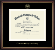 Cleveland Chiropractic College Diploma Frame - Gold Embossed Diploma Frame in Regency Gold