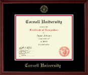 Cornell University Certificate Frame - Gold Embossed Certificate Frame in Camby