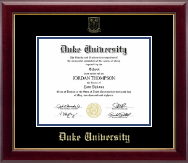 Duke University Diploma Frame - Gold Embossed Diploma Frame in Gallery