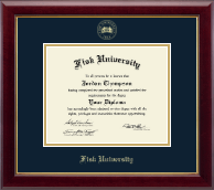 Fisk University Diploma Frame - Gold Embossed Diploma Frame in Gallery