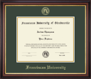 Franciscan University of Steubenville Diploma Frame - Gold Embossed Diploma Frame in Regency Gold