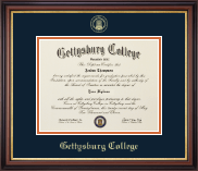 Gettysburg College Diploma Frame - Gold Embossed Diploma Frame in Regency Gold