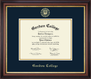 Gordon College in Massachusetts Diploma Frame - Gold Embossed Diploma Frame in Regency Gold