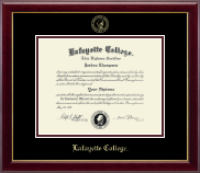 Lafayette College Diploma Frame - Gold Embossed Diploma Frame in Gallery