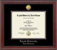 Loyola University New Orleans Diploma Frame - 23K Medallion Diploma Frame in Signature