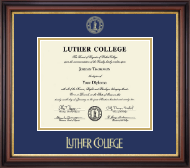 Luther College Diploma Frame - Gold Embossed Diploma Frame in Regency Gold