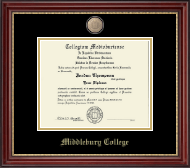 Middlebury College Diploma Frame - Brass Masterpiece Medallion Diploma Frame in Kensington Gold
