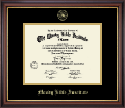 Moody Bible Institute Diploma Frame - Gold Embossed Diploma Frame in Regency Gold