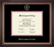 Muskingum College Diploma Frame - Gold Embossed Diploma Frame in Regency Gold