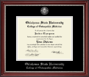Oklahoma State University College of Osteopathic Medicine Diploma Frame - Masterpiece Medallion Diploma Frame in Kensington Silver