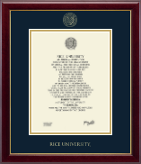 Rice University Diploma Frame - Gold Embossed Diploma Frame in Gallery