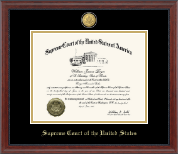 Supreme Court of the United States Certificate Frame - 23K Medallion Edition Certificate Frame in Signature