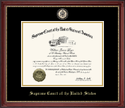 Supreme Court of the United States Certificate Frame - Masterpiece Black Enamel Edition Certificate Frame in Kensington Gold
