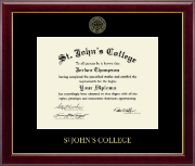 St. John's College Diploma Frame - Gold Embossed Diploma Frame in Gallery