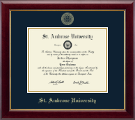 Saint Ambrose University Diploma Frame - Gold Embossed Diploma Frame in Gallery