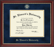 St. Edward's University Diploma Frame - Masterpiece Medallion Diploma Frame in Kensington Gold
