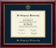 St. Gregory's University Diploma Frame - Gold Embossed Diploma Frame in Gallery