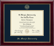 St. Mary's University Diploma Frame - Gold Embossed Diploma Frame in Gallery