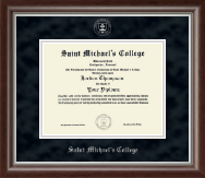Saint Michael's College Diploma Frame - Silver Embossed Diploma Frame in Devonshire