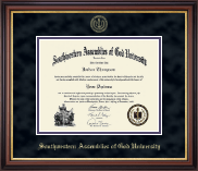 Southwestern Assemblies of God University Diploma Frame - Gold Embossed Diploma Frame in Regency Gold