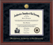 Southwestern Assemblies of God University Diploma Frame - 23K Medallion Diploma Frame in Signature