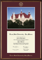 Texas State University San Marcos Diploma Frame - Campus Scene Diploma Frame in Williamsburg