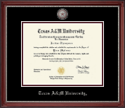 Texas A&M University Diploma Frame - Pewter Masterpiece Medallion Diploma Frame in Kensington Silver