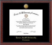 Texas A&M University - Commerce Diploma Frame - 23K Medallion Diploma Frame in Signature