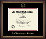 The University of Alabama Tuscaloosa Diploma Frame - Gold Embossed Diploma Frame in Regency Gold