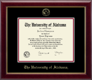 The University of Alabama Tuscaloosa Diploma Frame - Gold Embossed Diploma Frame in Gallery