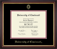 University of Cincinnati Diploma Frame - Gold Embossed Diploma Frame in Regency Gold