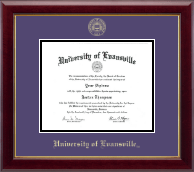 University of Evansville Diploma Frame - Gold Embossed Diploma Frame in Gallery