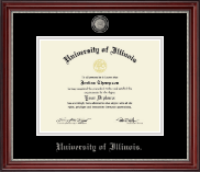 University of Illinois Diploma Frame - Pewter Masterpiece Medallion Diploma Frame in Kensington Silver