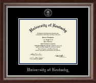 University of Kentucky Diploma Frame - Silver Embossed Diploma Frame in Devonshire