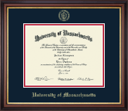 University of Massachusetts Lowell Diploma Frame - Gold Embossed Diploma Frame in Regency Gold