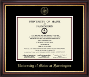 University of Maine Farmington Diploma Frame - Gold Embossed Diploma Frame in Regency Gold