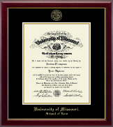 University of Missouri Columbia Diploma Frame - Gold Embossed Diploma Frame in Gallery