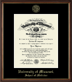 University of Missouri Columbia Diploma Frame - Gold Embossed Diploma Frame in Williamsburg