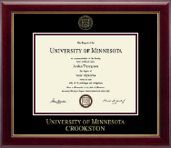 University of Minnesota Crookston Diploma Frame - Gold Embossed Diploma Frame in Gallery