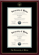 The University of Maine Orono Diploma Frame - Gold Embossed Double Diploma Frame in Galleria