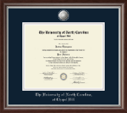 University of North Carolina Chapel Hill Diploma Frame - Silver Engraved Medallion Diploma Frame in Devonshire