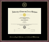 University of Science and Arts of Oklahoma Diploma Frame - Gold Embossed Diploma Frame in Kensit Gold